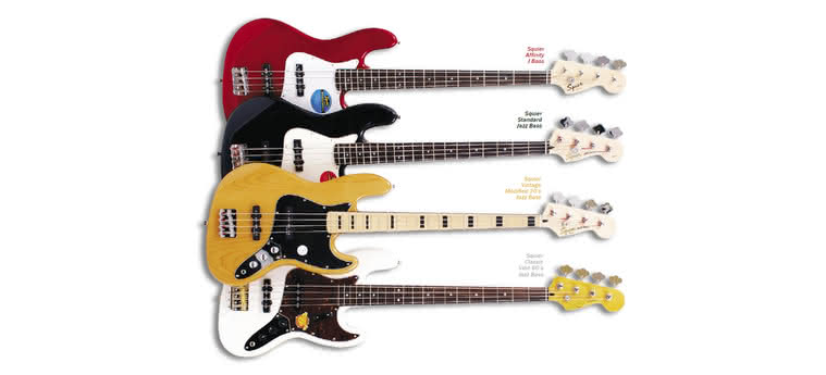 SQUIER - Affinity J Bass, Standard Jazz Bass, Vintage Modified 70's Jazz Bass, Classic Vibe 60's Jazz Bass